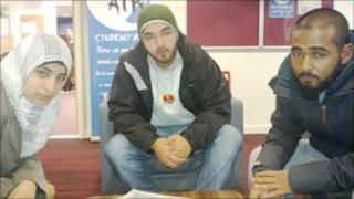 Three Muslim students at Bradford university
