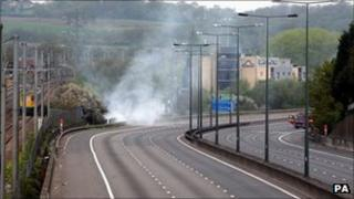 M1 motorway fire