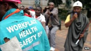 South African mineworkers demonstrate over safety standards (archive shot)
