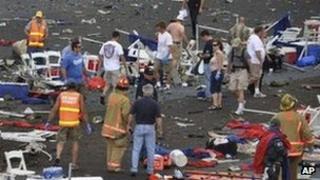 Spectators and debris after Reno air show crash