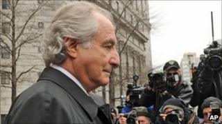 Bernard Madoff being photographed
