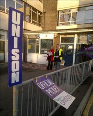 A picket line at a council office in Doncaster