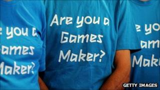 Volunteers wearing Games Maker t-shirts