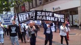 Market traders march through Birmingham