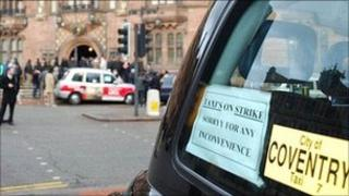Taxi driver strike in Coventry
