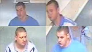 CCTV images of four men police want to speak to about the theft of a rhino head from a Surrey museum