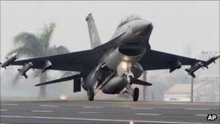 An F-16 fighter jet lands in Tainan City, Taiwan (file image)