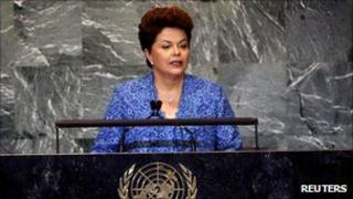 Brazilian President Dilma Rousseff addressing the UN General Assembly
