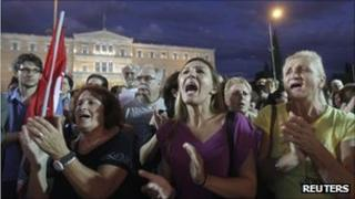 Protesters from the Greek Communist-affiliated trade union Pame at a rally against austerity measures in Athens