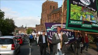 Unison members marched from Shrewsbury Abbey to Shirehall