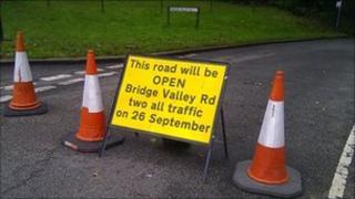 Road sign on Bridge Valley Road