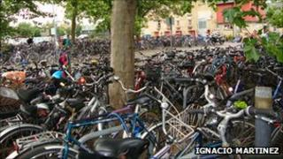Bicycles at Cambridge railway station