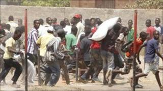 Protesters in Kitwe, Zambia, 22 September 2011