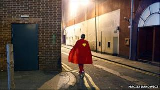 Cardiff reveller in super hero costume by Maciej Dakowicz