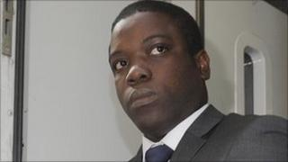 Kweku Adoboli leaving City of London Magistrates Court on Thursday
