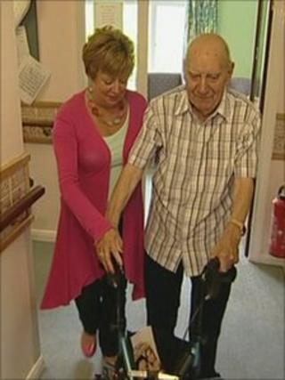 Mary Burke with her father Harry, who is a resident at Cherry Orchard Care Home in Andover