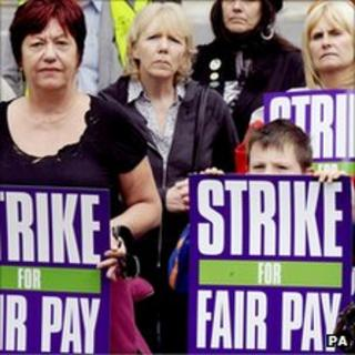Striking women from Unison with placards