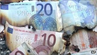 Burnt euro notes