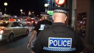 Police out in St Helier at night