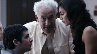 Scene from Acts of Godfrey: Iain Robertson, Simon Callow and MyFanwy Waring