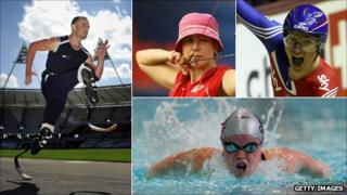 Athlete Oscar Pistorius, archer Dani Brown, cyclist Sarah Storey and swimmer Ellie Simmonds