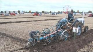 Michael Watkins taking part in the British National Ploughing Championships. Copyright: Society of Ploughmen