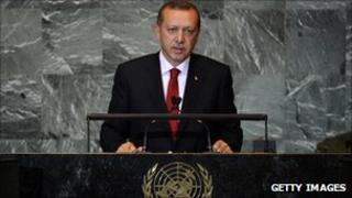 Turkish prime Minister Erdogan speaking at the UN