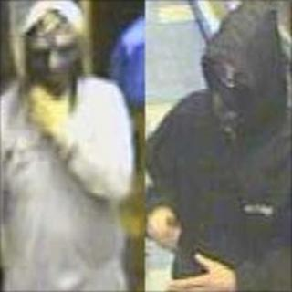 CCTV images of grocery shop robbers