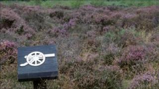A sign at Culloden Battlefield