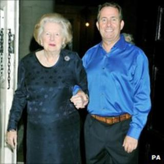 Baroness Thatcher and Liam Fox