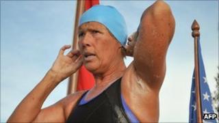 Diana Nyad preparing for her swim on 23 September at the Ernest Hemingway Nautical Club in Havana, Cuba