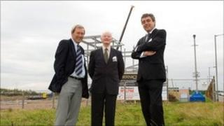 Councillor Roger Styring, Bernicia's Ian Armstrong, and AkzoNobel's Guy Williams at the Ashwood Business Park in Ashington.