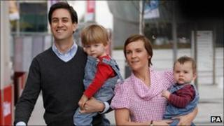 Ed Miliband and family at Lime Street Station