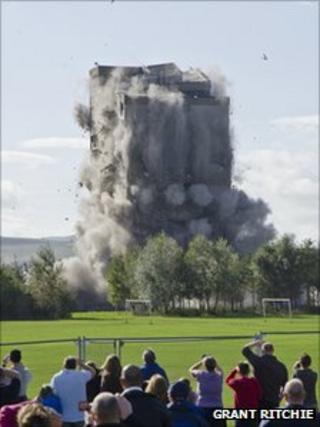 Tower block demolished