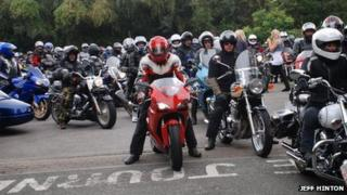 Motorcyclists assemble for A55 go-slow protest
