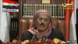 Yemeni President Ali Abdullah Saleh speaks during his first televised speech since he returned to Yemen