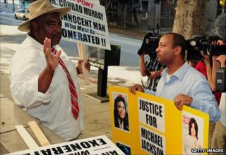 Supporters of both Dr Conrad Murray and Michael Jackson gather outside of the court in Los Angeles