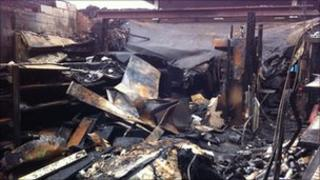 The aftermath of the fire at the petrol station in Bradwell