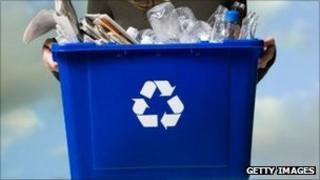 A recycling bin