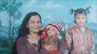Sarita Bhujel with her baby daughter before she went to the orphanage