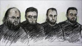 From left to right: Court artist's impression of Irfan Nasser, Rahim Ahmed, Irfan Khalid and Ashik Ali appearing in the dock at West London Magistrates