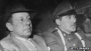 Walther Rauff, left, and a Chilean policeman