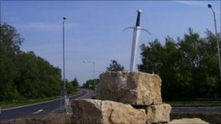 The sword in the stone roundabout display in Wareham