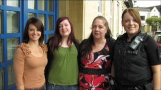 Left to right PC Kim Durrant, Penny Clifford (Mr Clifford's daughter), Anna Clifford and PC Emma Tandy