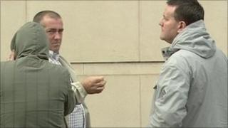 Accused David Miller (with hood up), John Bond and Darren Moore