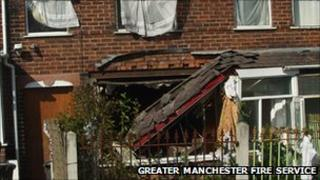 House damaged in gas explosion in Crumpsall, Manchester