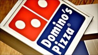 Dominos Pizza shop sign