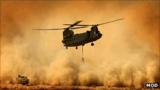 Chinook helicopter. Pic: Ministry of Defence