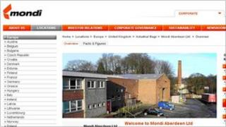 Mondi Aberdeen website