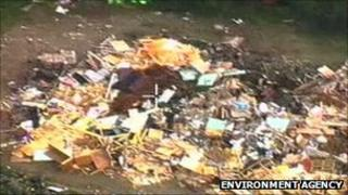 Waste filmed at Trago Mills. Pic: Environment Agency